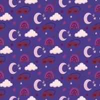 nursery baby bright colorful good night sleep seamless pattern. vector