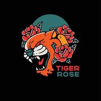Tiger And Rose Tattoo Style Vintage illustration vector
