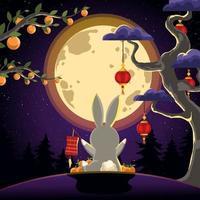 Enjoying Moonlight in Mid Autumn Festival vector