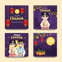 Celebrating Chuseok Festival in Hanbok Card vector