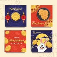 Tasty Mooncake Mid Autumn Festival Card vector