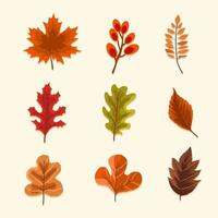Dry Autumn Leaves Icon Set vector