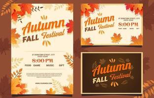Autumn Fall Festival Invitation Card vector