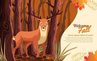 Deer in the Forest in Autumn Background vector