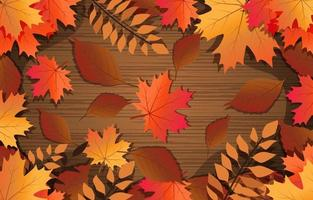 Warm Leaves Floral Autumn Background vector