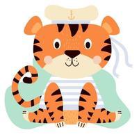 un lindo tigre con un chaleco marino y un sombrero con cintas vector