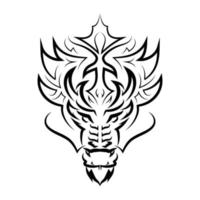 Black and white line art of dragon head. vector