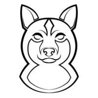 Black and white line art of shiba dog head. vector