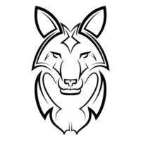 Black and white line art of fox head. vector