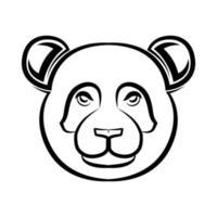 Black and white line art of panda head. vector