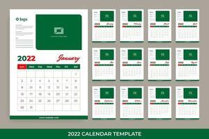 2022 flat design desk calendar vector
