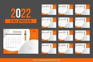 2022 desk calendar vector