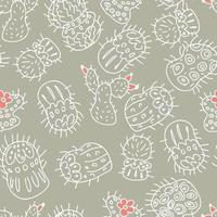 Seamless pattern of white outlines of cacti with bright flowers vector