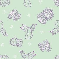 Doodle vector seamless pattern of cacti with stars