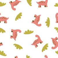 Tender summer seamless pattern of red dinosaurs and green grass vector