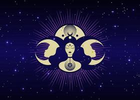 Woman Wicca mother earth symbol of sexual procreation. Spiral goddess vector