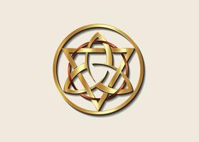 The Grand Seal of gold Triquetra with Triangle and bronze Circle logo vector