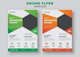 Drone Flyer Template, Most Advanced Drone Services Flyer vector