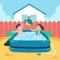 Kids Playing Ball in Inflatable Pool vector