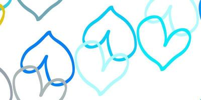Light Blue, Yellow vector background with hearts.