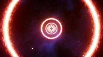 anneau de feu de lueur volante sur la boucle spatiale video