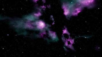 particelle scintillanti volanti sullo spazio della nebulosa al neon video