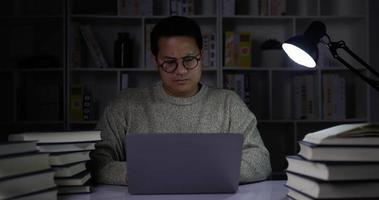 Young Man Working from Home Overload at Night video