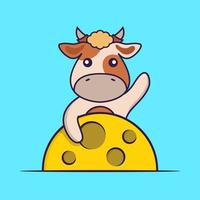 Cute cow is on the moon. vector