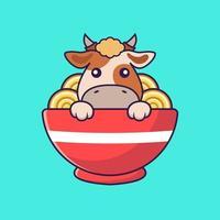 Cute cow eating ramen noodles. vector