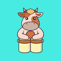Cute cow is playing drums. vector