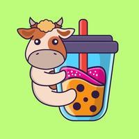 Cute cow Drinking Boba milk tea. vector