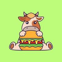Cute cow eating burger. vector