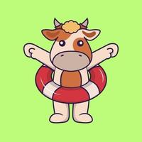 Cute cow using a float. vector