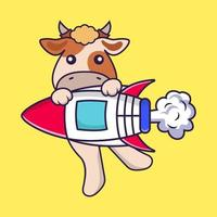 Cute cow flying on rocket. vector