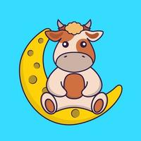 Cute cow is sitting on the moon. vector