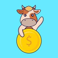 Cute cow holding coin. vector