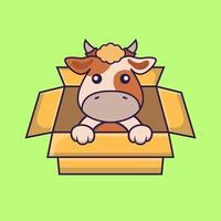 linda vaca jugando en caja. vector