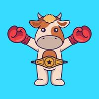 Cute cow in boxer costume with champion belt. vector
