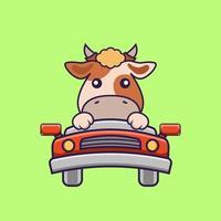 linda vaca está conduciendo. vector