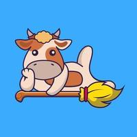 Cute cow lying on Magic Broom. vector
