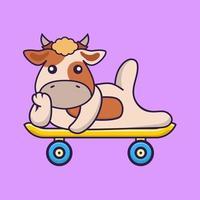 Cute cow lying on a skateboard. vector