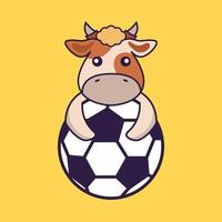 Cute cow playing soccer. vector
