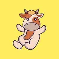 Cute cow is flying. vector