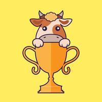 Cute cow with gold trophy. vector