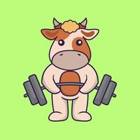 Cute cow lifts the barbell. vector