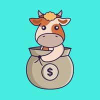 Cute cow in a money bag. vector