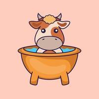 Cute cow taking a bath in the bathtub. vector