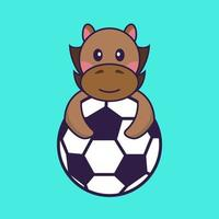 Cute horse playing soccer. vector