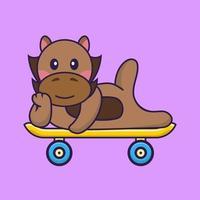 Cute horse lying on a skateboard. vector