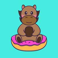 Cute horse is sitting on donuts. vector